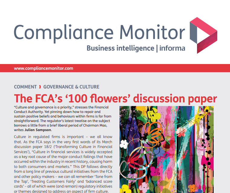 Read published article in Compliance Monitor